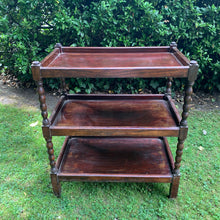 Load image into Gallery viewer, Vintage Three-Tiered Bobbin Style Drinks Trolley
