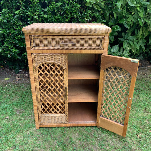 Vintage Wicker Bamboo Cabinet with Internal Shelving