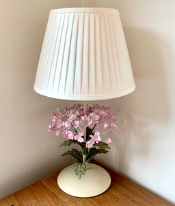 Italian Hydrangea Tole Table Lamp with Ivory Shade