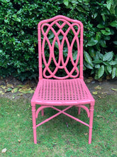 Load image into Gallery viewer, Pink Lacquered Bamboo and Cane Chair
