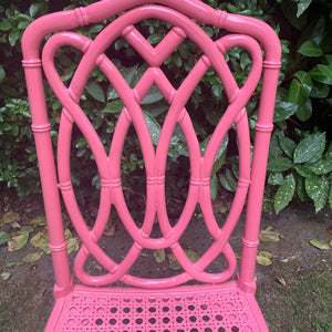 Pink Lacquered Bamboo and Cane Chair