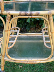 1970s Bamboo and Glass Drinks Trolley