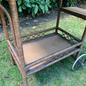 1940s French Rattan Drinks Trolley