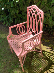 Pink Bamboo Lacquered Chair with Arms