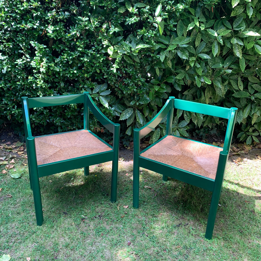 Pair of Vintage Vico Magistretti Hand Lacquered Chairs
