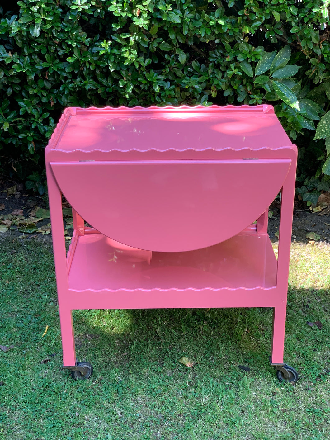 Pink Scalloped Hand Lacquered Drinks Trolley