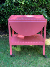 Load image into Gallery viewer, Pink Scalloped Hand Lacquered Drinks Trolley