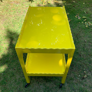 Yellow Scalloped Hand Lacquered Drinks Trolley