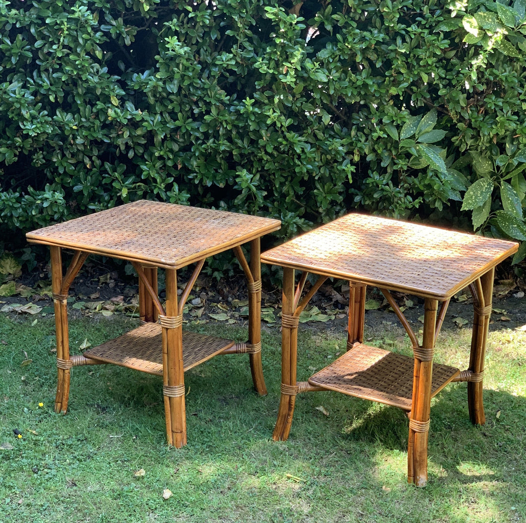 Pair of 1970s Woven Bamboo Side Tables