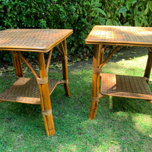 Load image into Gallery viewer, Pair of 1970s Woven Bamboo Side Tables