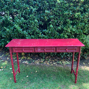 Hand Lacquered Burgundy Bamboo Console Table