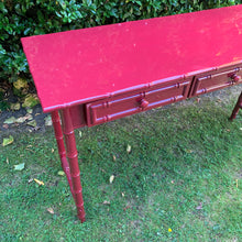 Load image into Gallery viewer, Hand Lacquered Burgundy Bamboo Console Table