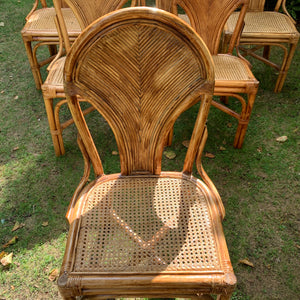 Six Rattan and Cane Dining Chairs in the style of Gabriella Crespi