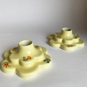 Vintage Scalloped Floral Candle Holders
