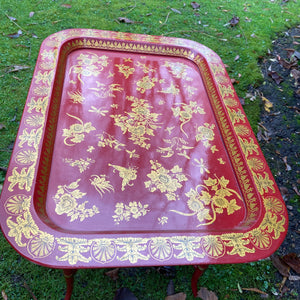 Vintage Chinoiserie Lacquered Red and Gold Floral Tray and Stand