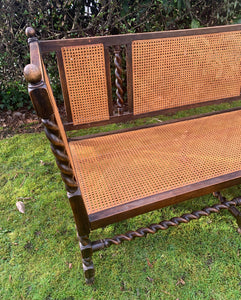 Antique Barley Twist French Cane Bench