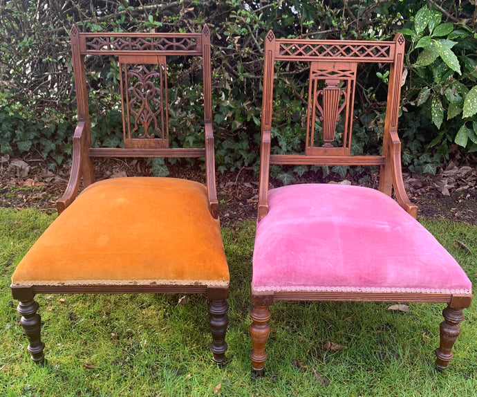 Pair of Antique Hand Carved Nursing Chairs