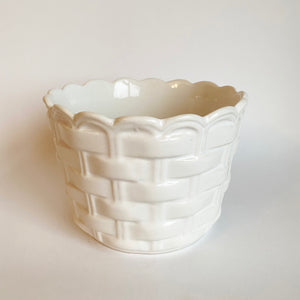 Vintage Basket Weave Ceramic Plant Pot