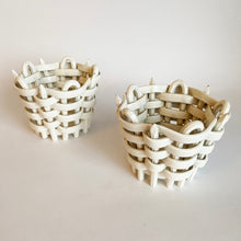 Load image into Gallery viewer, Pair of Antique Basket Weave Ceramic Tea Light Holders