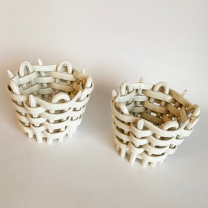 Pair of Antique Basket Weave Ceramic Tea Light Holders