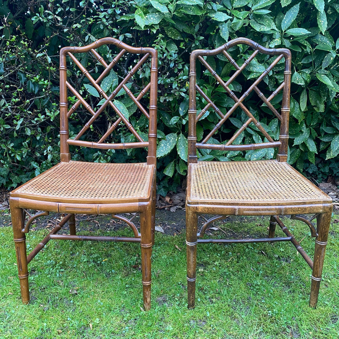 Vintage Bamboo Chinoiserie chippendale chairs