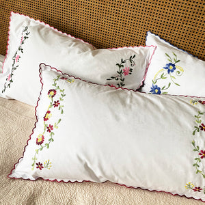 Pairs of Hand Embroidered Floral Pillowcases