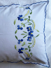 Load image into Gallery viewer, Pairs of Hand Embroidered Floral Pillowcases