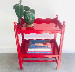 Vintage Scallop Hand Lacquered Drinks Trolley
