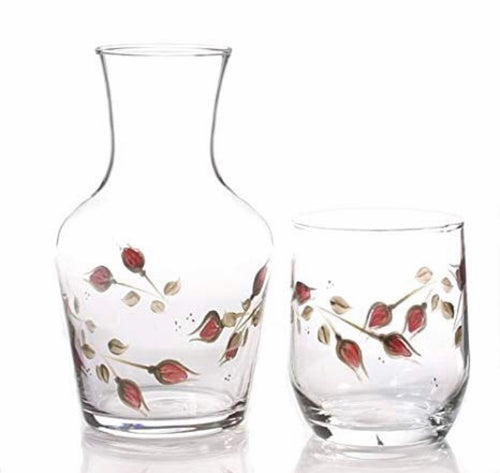 Hand painted Rose Carafe and Glass