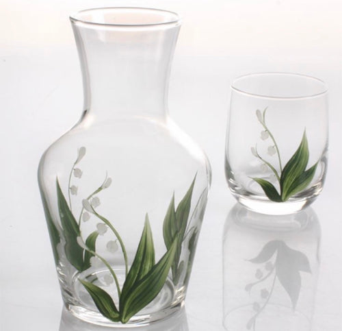 Hand Painted Lily of the Valley Carafe and Glass