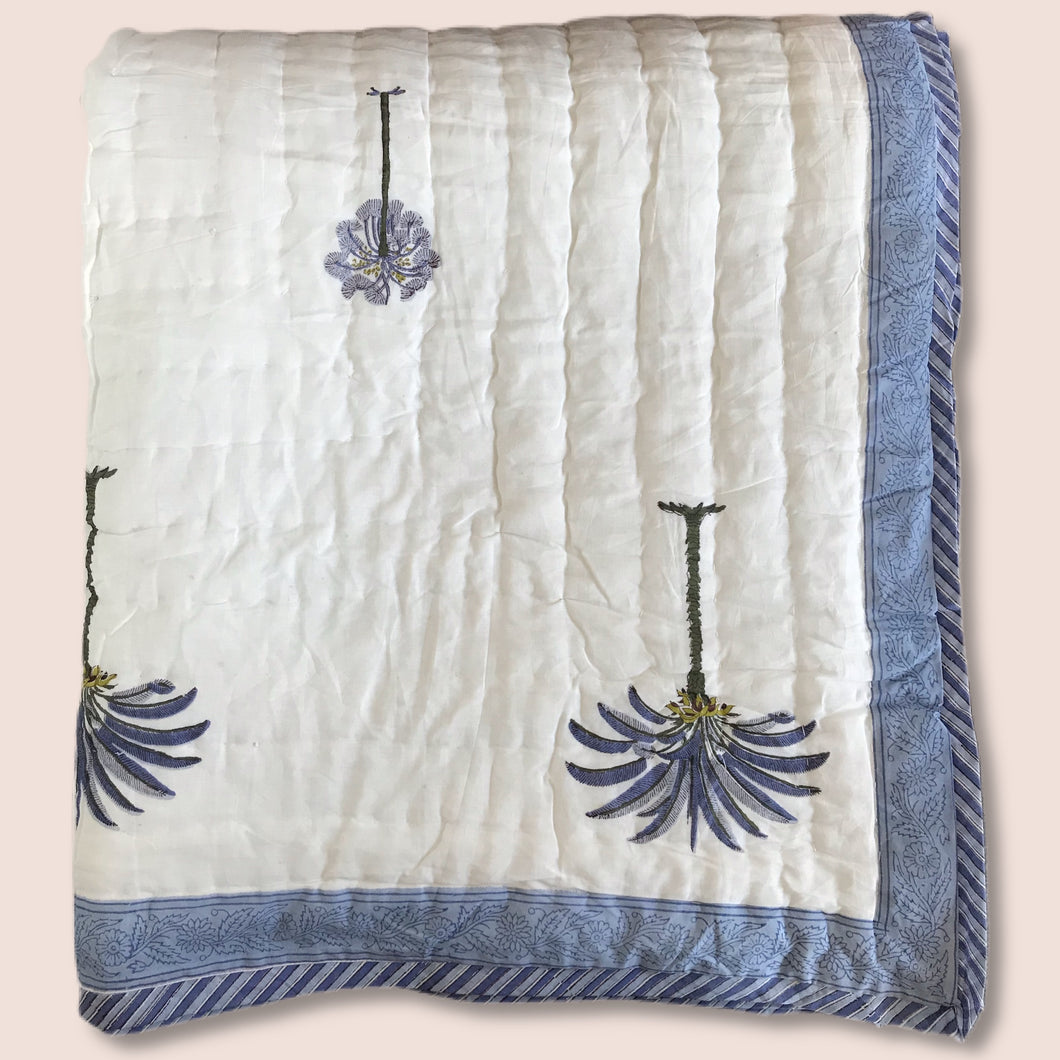 Hand Block Printed Indian Bedspread - POLLY