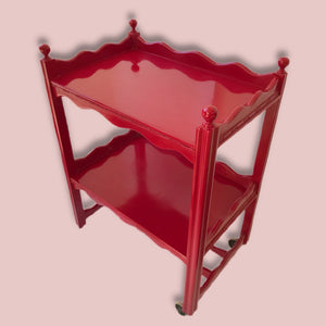 Vintage Red Gloss Two Tiered Scolloped Drinks Trolley