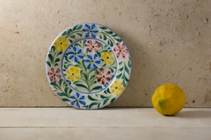 Hand Painted 'Colourful Flowers' Portuguese Plates