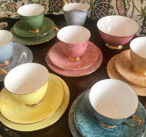 1960's Marbled Harlequin Tea Set