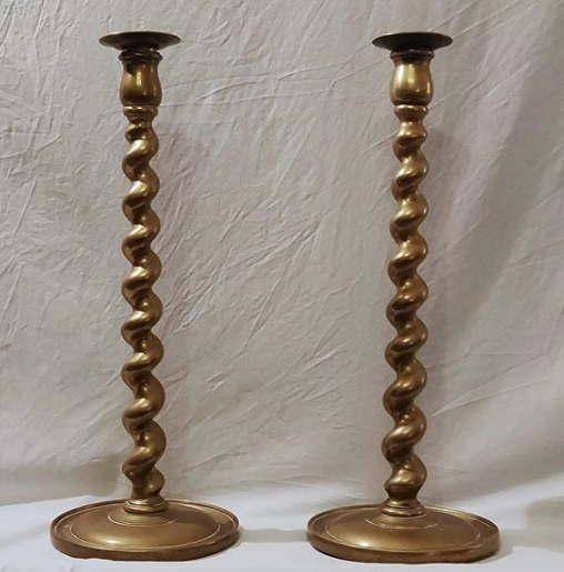 Pair of Tall Antique Brass Barley Twist Candlesticks