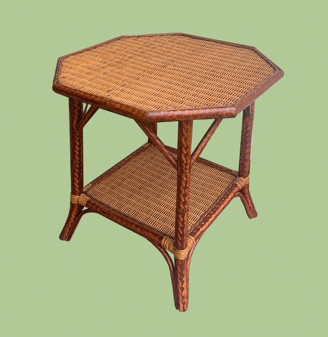 Uniquely Stained Rattan Side Table