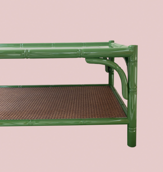 Leaf Green Bamboo Style Lacquered Coffee Table
