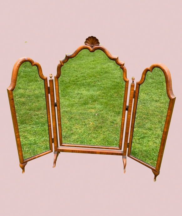 Antique Shell Triple Panel Dressing Table Mirror