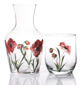 Hand painted Poppy Carafe and Glass