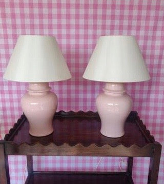 Pair of Pink Vintage Ceramic Ginger Jar Urn Table Lamps