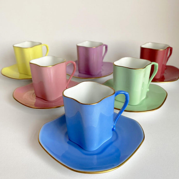 Vintage Richard Ginori Harlequin Espresso Cups for Six