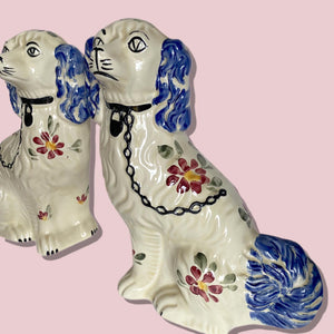 Antique Pair of Hand Painted Staffordshire Dogs