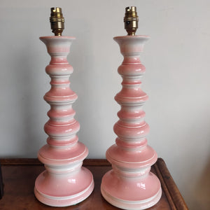 Pair of original 1960's pink ceramic lamps