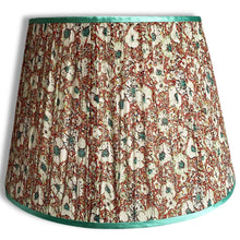 Load image into Gallery viewer, Red and Green Garden Handmade Gathered Silk-lined Lampshades