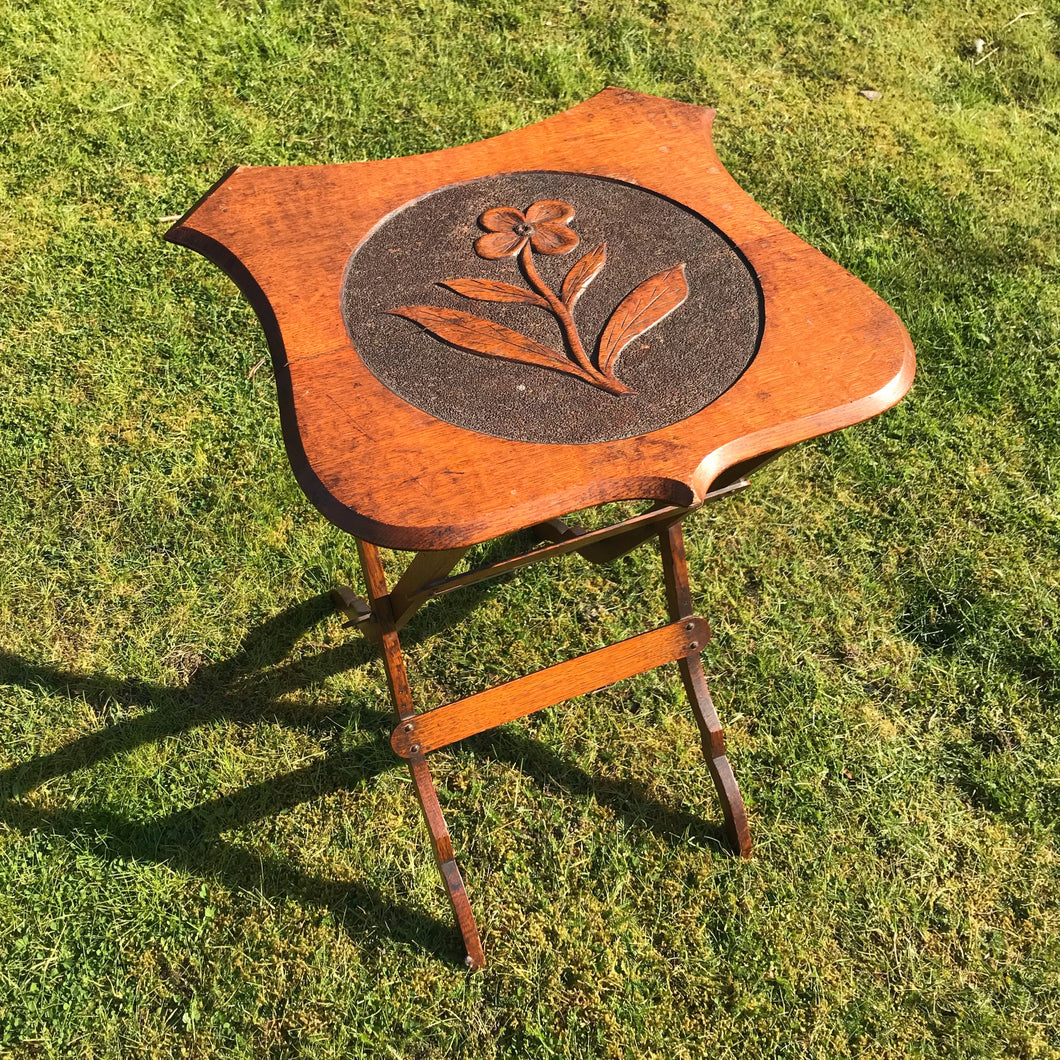 Vintage Collapsible Oak Side Table with Hand Carved Flower Design