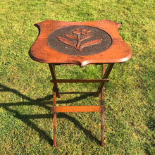 Load image into Gallery viewer, Vintage Collapsible Oak Side Table with Hand Carved Flower Design