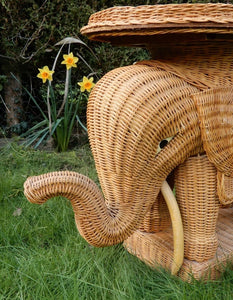 Vintage 1970's Wicker Elephant Table