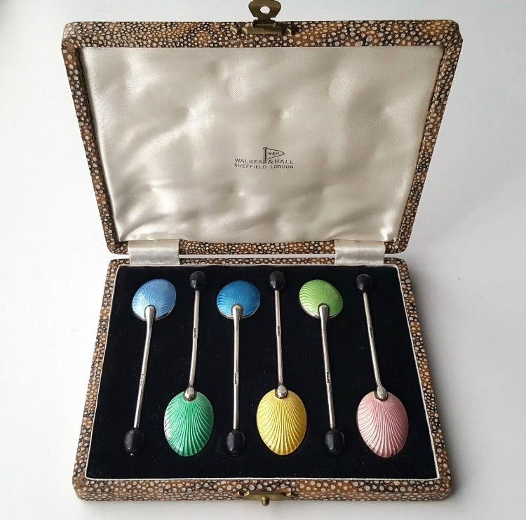 Antique Harlequin Enamelled Shell Coffee Spoons
