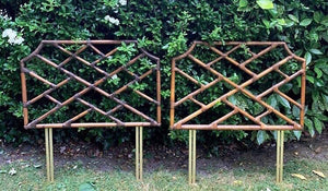 Pair of Vintage French Bamboo Chinoiserie Single Headboards