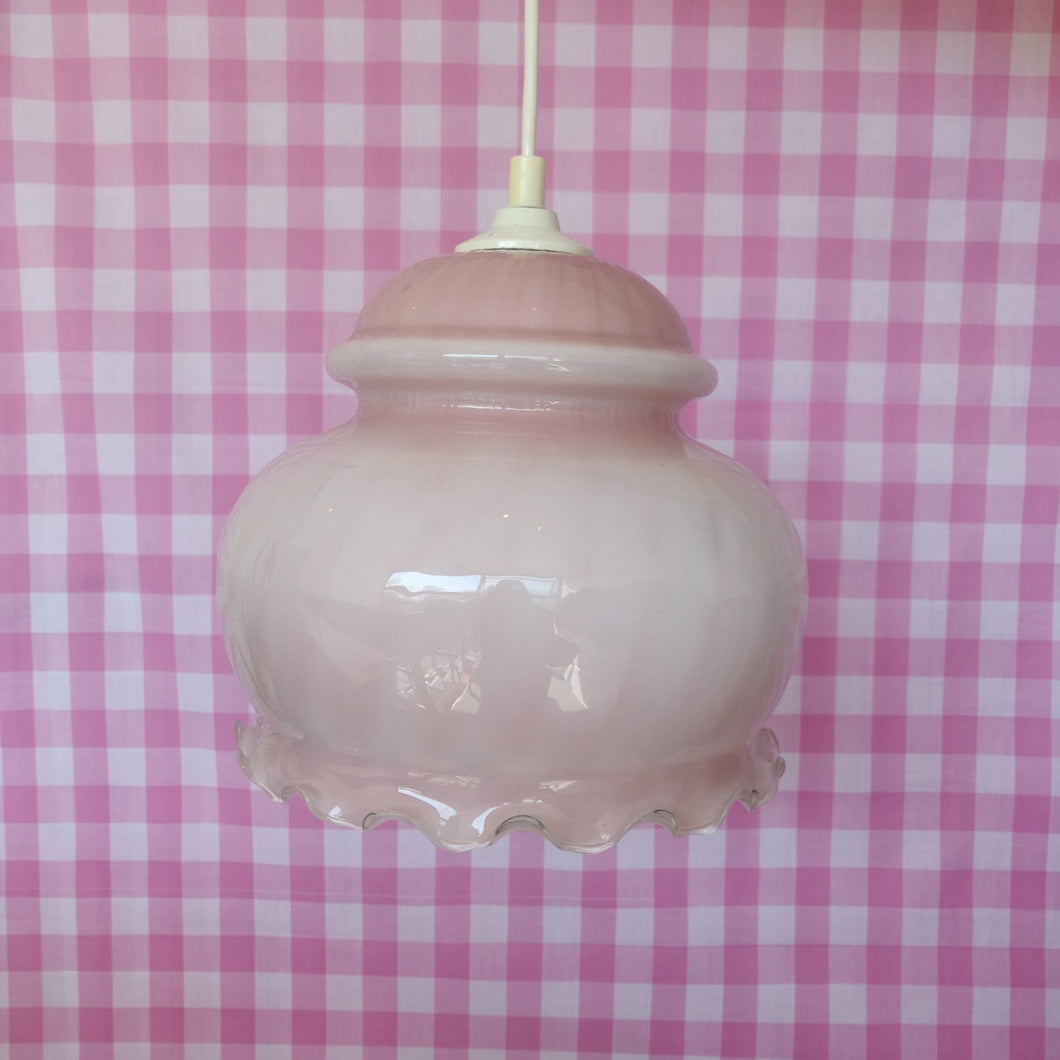 Vintage Pink Candy Stripe French Glass Pendent